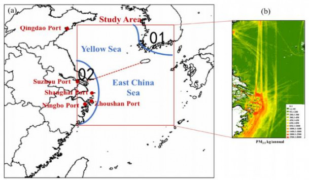 Fig. 1. Schematic diagram of (a) the study area and locations of giant ports, and (b) the spatial distribution of estimated annual PM2.5 emissions from shipping in 2014 (Chen et al., 2017).