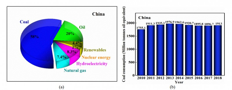 Fig. 2. (a) Shares of China primary energy consumption and (b) China's coal consumption in 2010–2018.