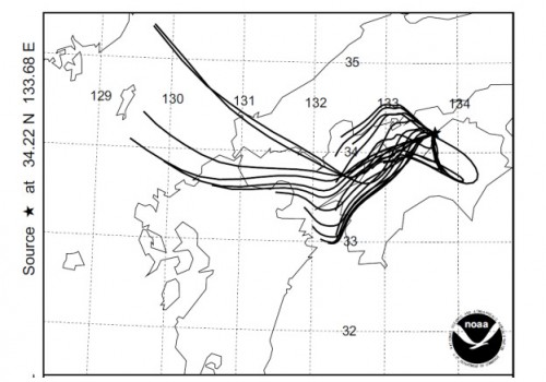 Fig. 5. 72 hours backward trajectories during the Period F at every 2 hours starting from 0900. JST on 15 March to 0900 on 17 March (NOAA ARL HYSPLITS4 Model).