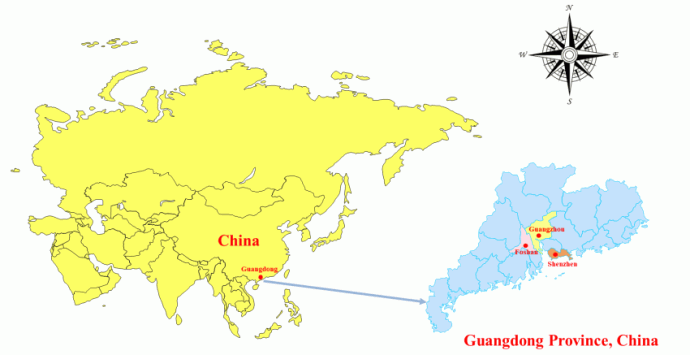 Fig. 1. Locations of Shenzhen, Guangzhou, and Foshan in Guangdong Province, China.