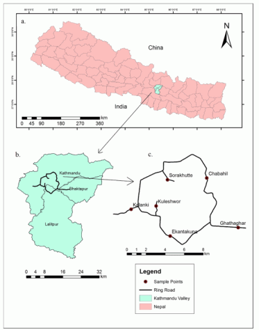 Fig. 1. (a) Map of Nepal indicating the study area (Kathmandu Valley); (b) Map of study area showing the ring road encircling Kathmandu and Lalitpur; (c) Sample points on the ring road, inside the ring road, and the arterial highways.